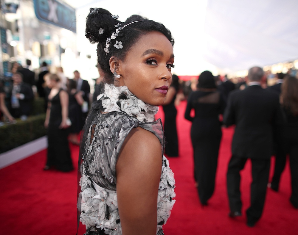 Janelle Monae grey dress