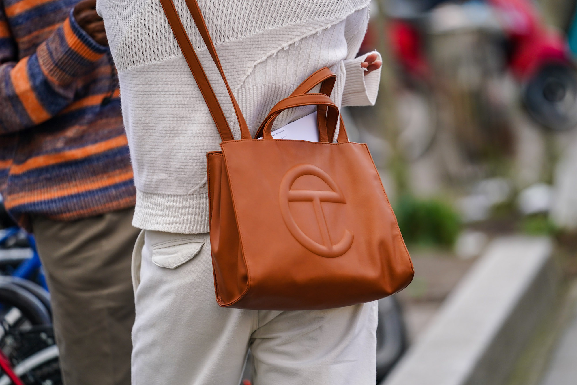 A brown Telfar bag