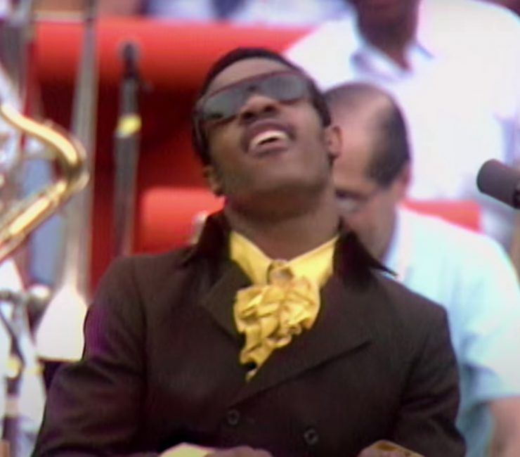 Stevie Wonder singing and playing the keys in the trailer for Questlove's 'Summer of Soul' documentary.