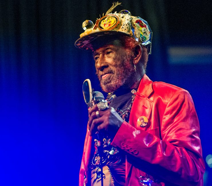 Lee 'Scratch' Perry performs on stage at O2 Academy Leicester on April 9, 2015 in Leicester, United Kingdom.