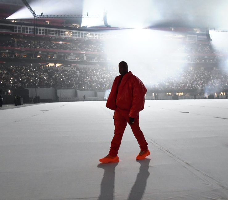 Kanye West is seen at 'DONDA by Kanye West' listening event at Mercedes-Benz Stadium on July 22, 2021 in Atlanta, Georgia.